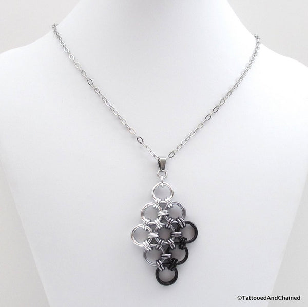 Black ombre chainmaille pendant, Japanese 12 in 2 diamond - Tattooed and Chained Chainmaille  - 3