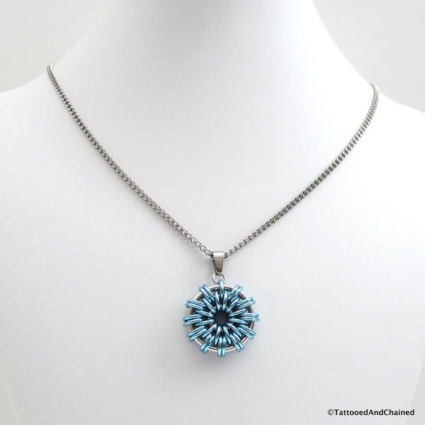 Turquoise chainmaille pendant - Tattooed and Chained Chainmaille  - 4