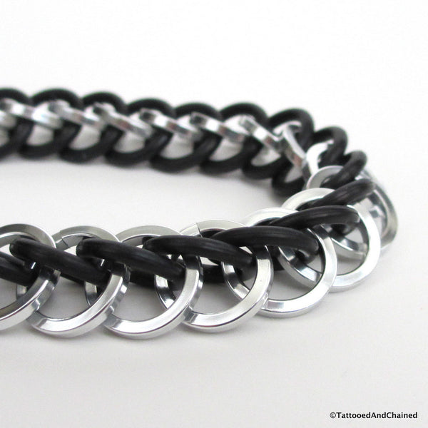 Half Persian 3 in 1 chainmaille stretchy bracelet, silver and black square wire - Tattooed and Chained Chainmaille  - 2