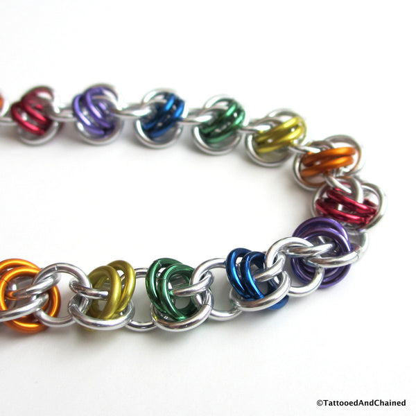 Gay pride bracelet, rainbow chainmaille barrel weave - Tattooed and Chained Chainmaille  - 3