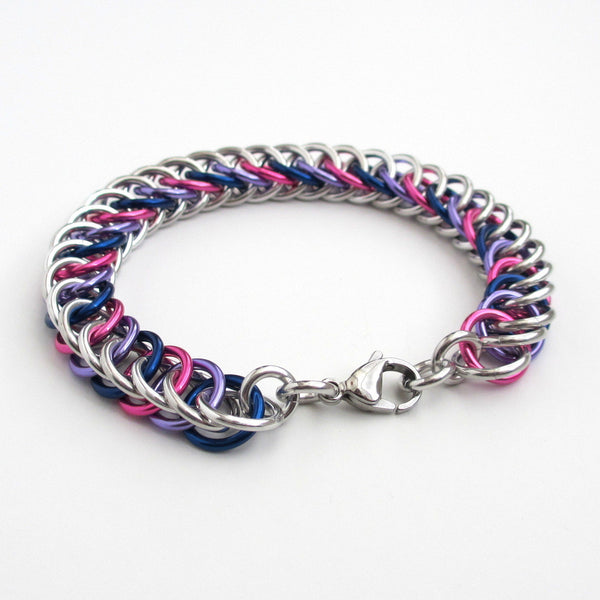 Bi pride bracelet, chainmaille half Persian 4 in 1 weave - Tattooed and Chained Chainmaille  - 3