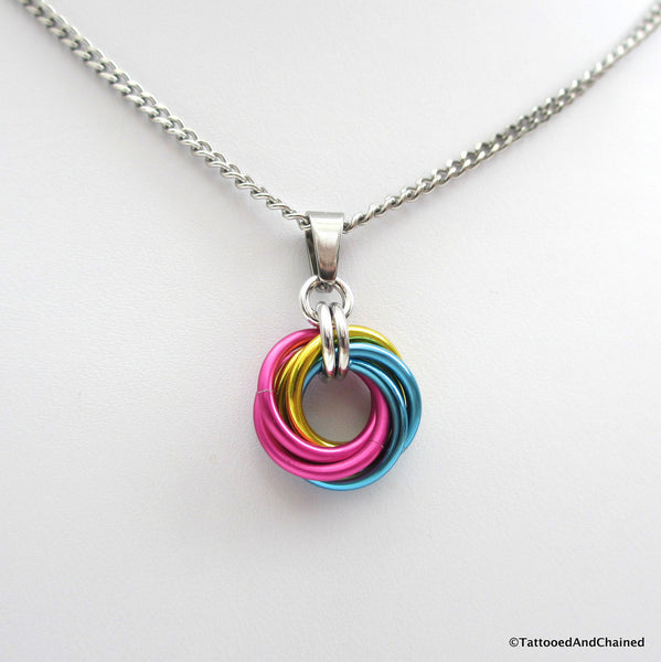 Pansexual pride chainmaille love knot pendant; pink, yellow, light blue - Tattooed and Chained Chainmaille  - 3