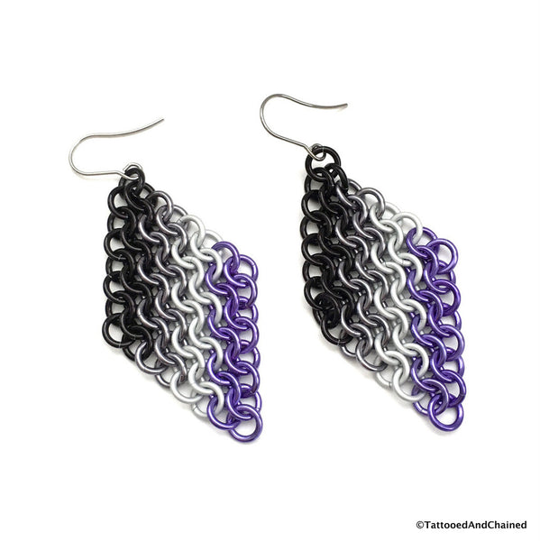 Ace pride flag chainmaille earrings, European 4 in 1 - Tattooed and Chained Chainmaille  - 2