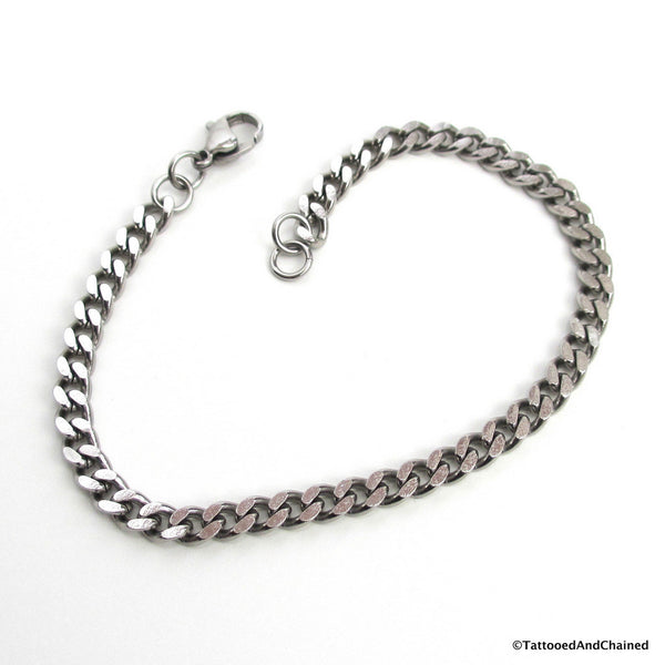 4mm stainless steel curb chain bracelet - Tattooed and Chained Chainmaille  - 2