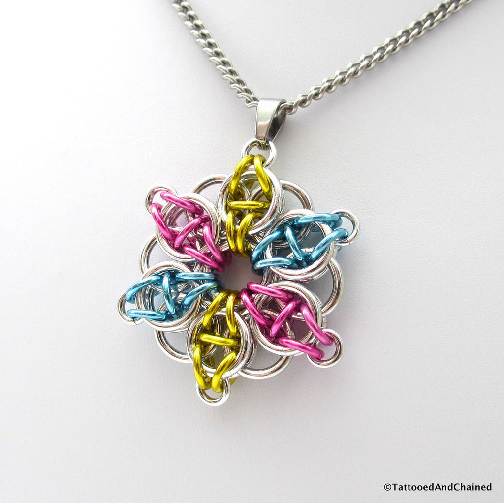Pansexual pride pendant, chainmaille Celtic star; pink, yellow, light blue - Tattooed and Chained Chainmaille  - 1