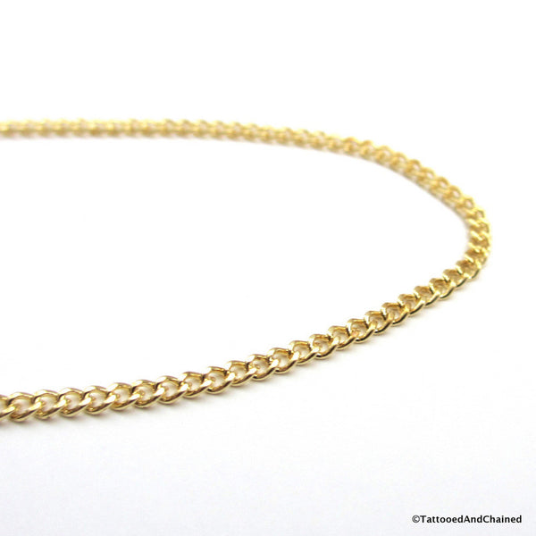 Jewelry brass curb chain anklet - Tattooed and Chained Chainmaille  - 4