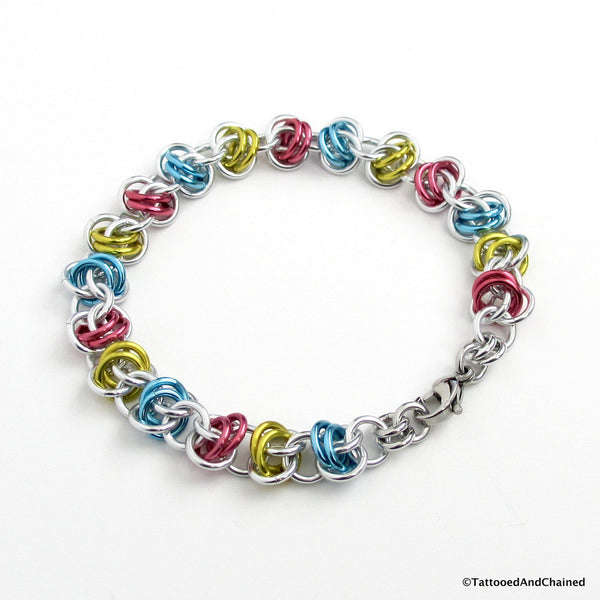 Pansexual pride bracelet, chainmaille barrel weave - Tattooed and Chained Chainmaille  - 2