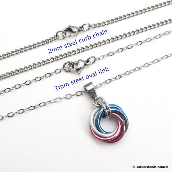 Transgender pride chainmaille love knot pendant; pink, white, light blue - Tattooed and Chained Chainmaille  - 5
