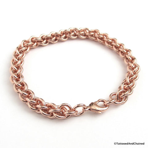 Copper chainmaille bracelet, Jens Pind Linkage - Tattooed and Chained Chainmaille  - 1