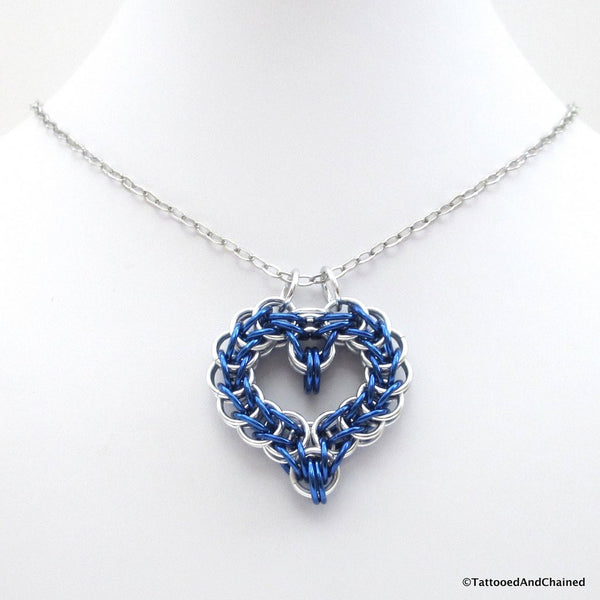 Blue chainmaille heart pendant - Tattooed and Chained Chainmaille  - 3