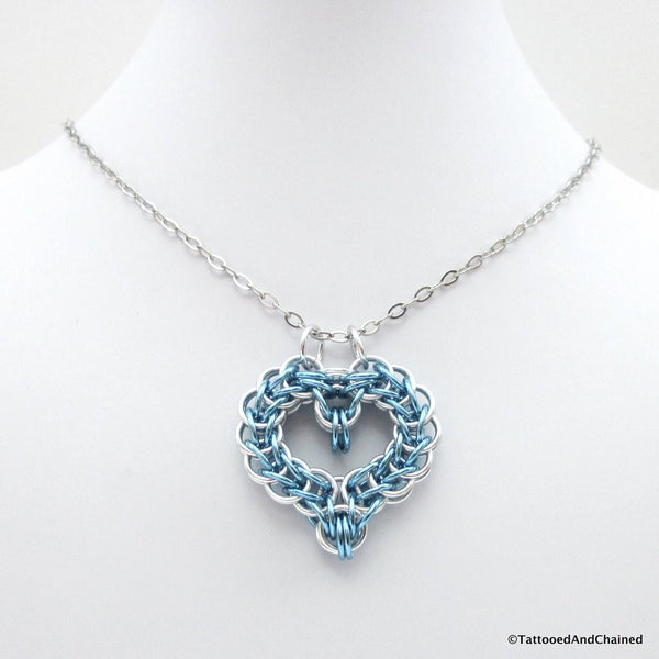 Turquoise chainmaille heart pendant - Tattooed and Chained Chainmaille  - 3