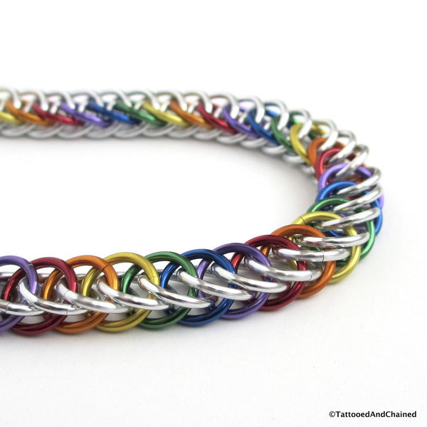 Gay pride bracelet, rainbow half Persian 4 in 1 chainmaille - Tattooed and Chained Chainmaille  - 3