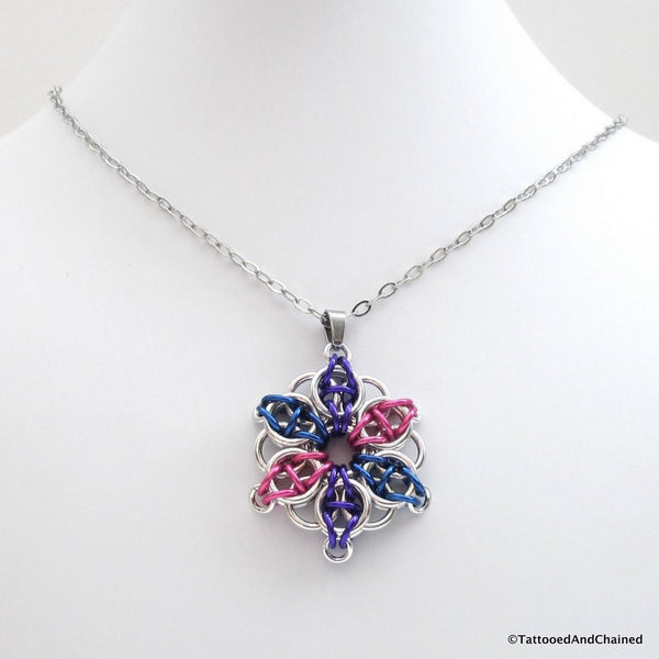 Bisexual pride chainmaille star pendant; pink, purple, blue - Tattooed and Chained Chainmaille  - 3