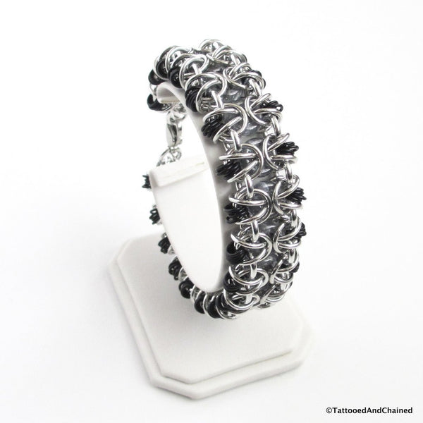 Glass chainmaille bracelet; gray, black and silver - Tattooed and Chained Chainmaille  - 3