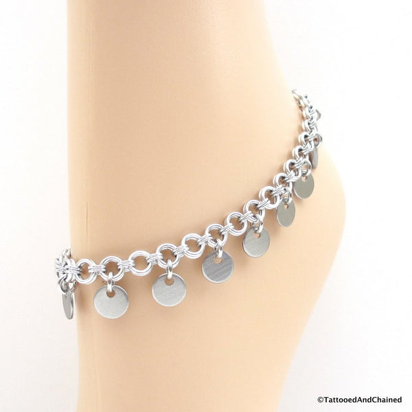 Chainmaille anklet with confetti disc dangles - Tattooed and Chained Chainmaille  - 3