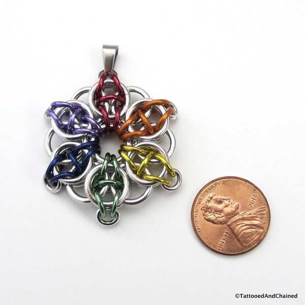 Gay pride chainmaille star pendant; rainbow - Tattooed and Chained Chainmaille  - 5