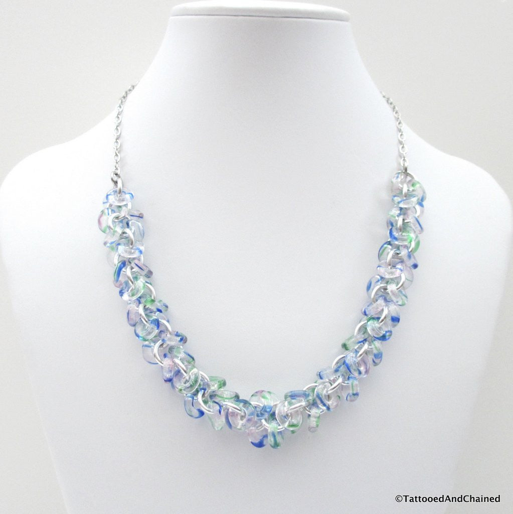 Blue & green glass chainmaille necklace, shaggy loops weave - Tattooed and Chained Chainmaille  - 1