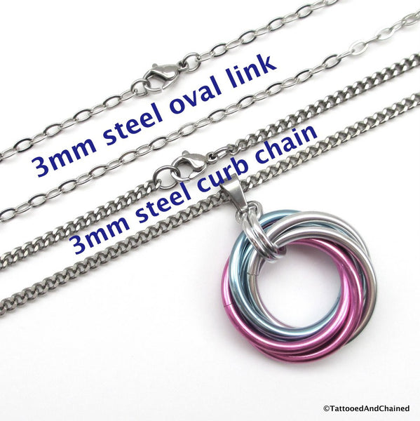 Large transgender pride chainmaille love knot pendant; pink, white, light blue - Tattooed and Chained Chainmaille  - 3