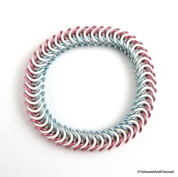 Transgender pride stretchy bracelet, chainmaille box chain