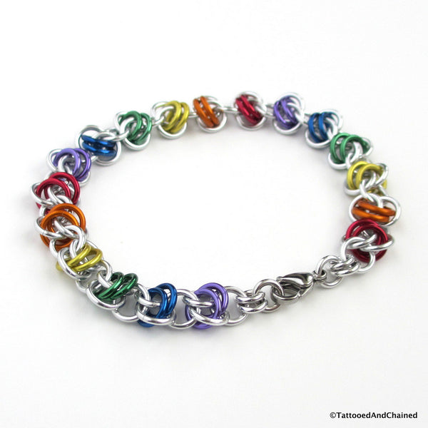 Gay pride bracelet, rainbow chainmaille barrel weave - Tattooed and Chained Chainmaille  - 4