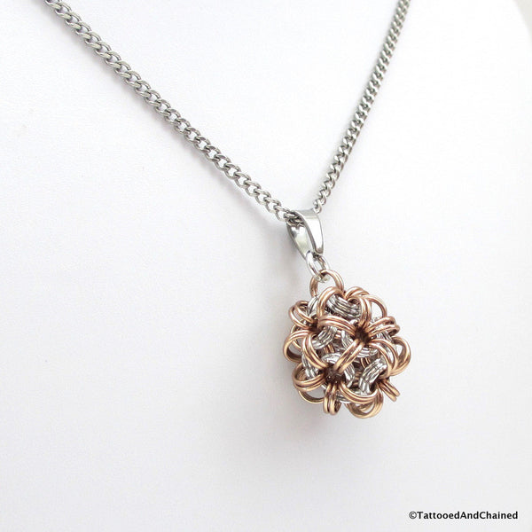 Tan chainmaille dodecahedron pendant - Tattooed and Chained Chainmaille  - 4