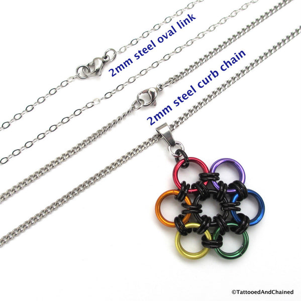 Gay pride pendant, rainbow chainmaille flower - Tattooed and Chained Chainmaille  - 3