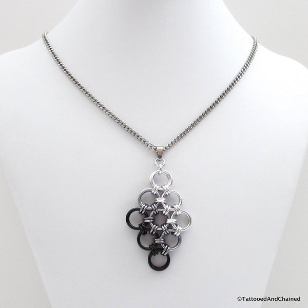 Black ombre chainmaille pendant, Japanese 12 in 2 diamond - Tattooed and Chained Chainmaille  - 4