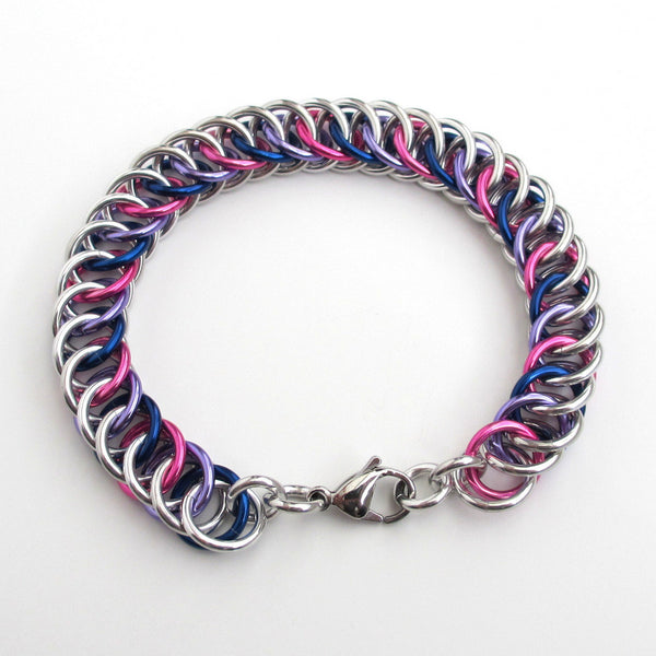 Bi pride bracelet, chainmaille half Persian 4 in 1 weave - Tattooed and Chained Chainmaille  - 4