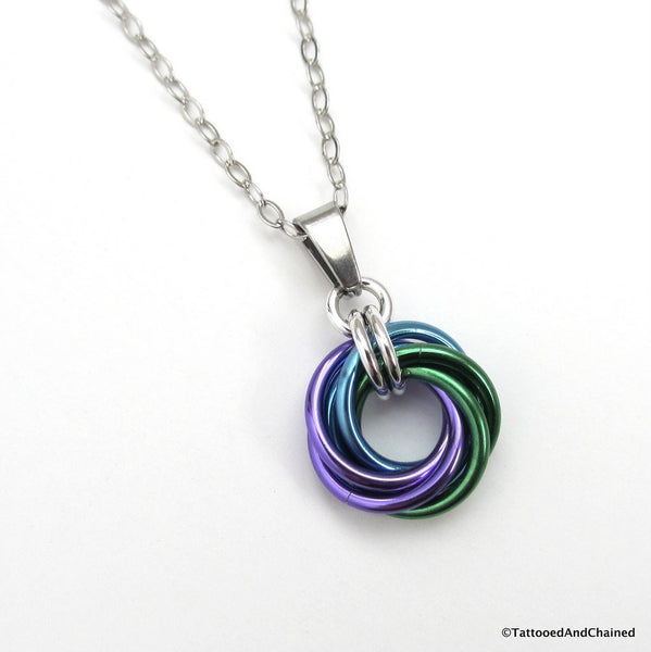 Purple, turquoise, and green pendant, chainmaille love knot - Tattooed and Chained Chainmaille  - 1