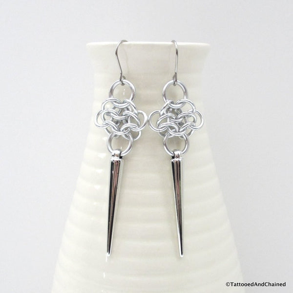 Rosette chainmaille earrings with silver spikes - Tattooed and Chained Chainmaille  - 1