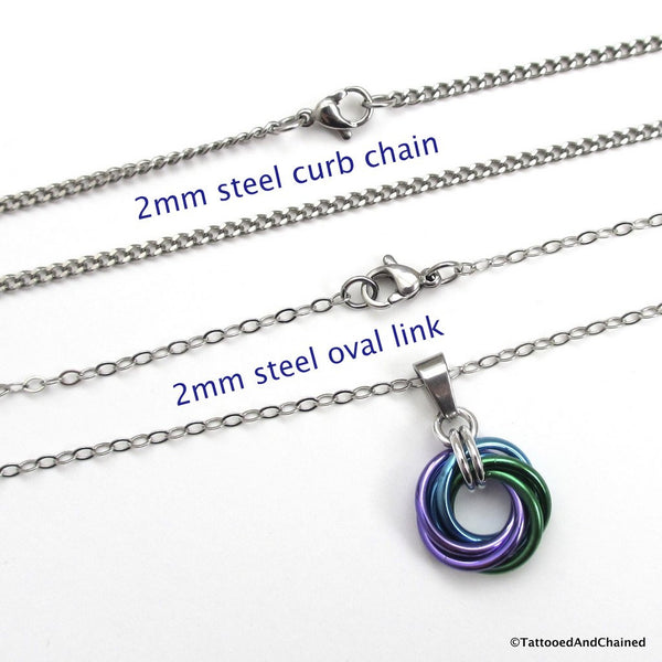 Purple, turquoise, and green pendant, chainmaille love knot - Tattooed and Chained Chainmaille  - 2