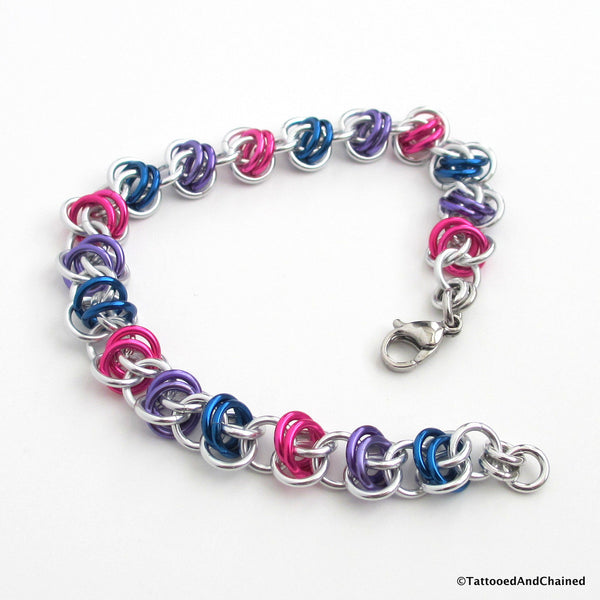 Bisexual pride bracelet, chainmaille barrel weave - Tattooed and Chained Chainmaille  - 4