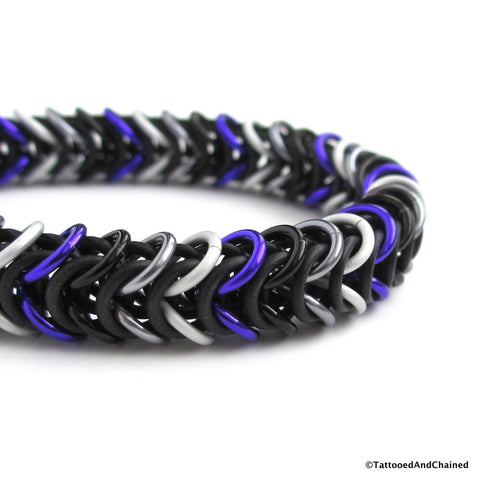 Ace pride stretchy bracelet, chainmaille box chain - Tattooed and Chained Chainmaille  - 1