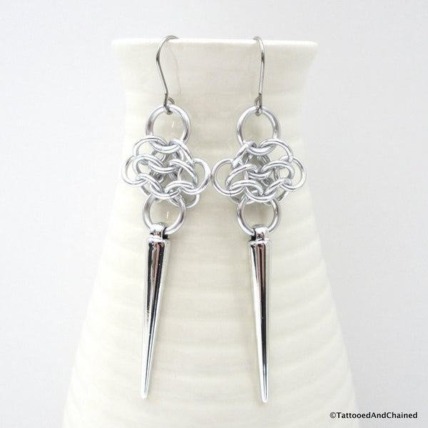 Rosette chainmaille earrings with silver spikes - Tattooed and Chained Chainmaille  - 3