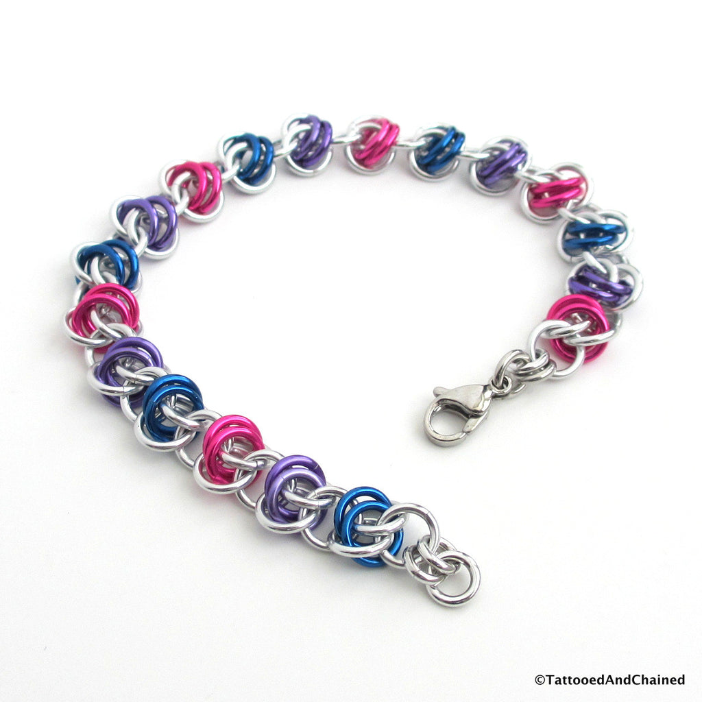 Bisexual pride bracelet, chainmaille barrel weave - Tattooed and Chained Chainmaille  - 1