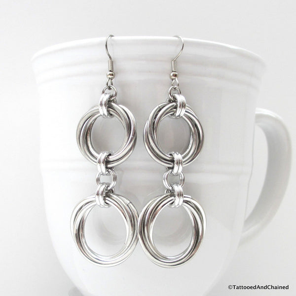 Double love knot chainmaille earrings - Tattooed and Chained Chainmaille  - 2