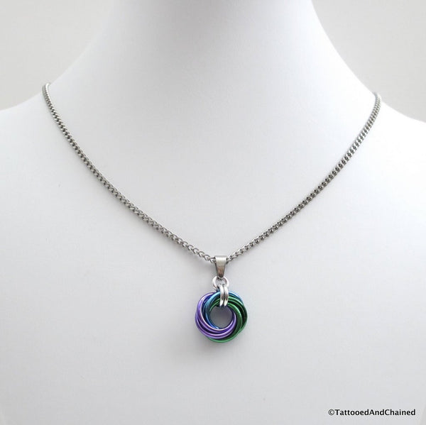 Purple, turquoise, and green pendant, chainmaille love knot - Tattooed and Chained Chainmaille  - 4