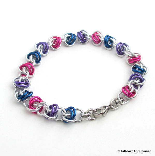 Bisexual pride bracelet, chainmaille barrel weave - Tattooed and Chained Chainmaille  - 2