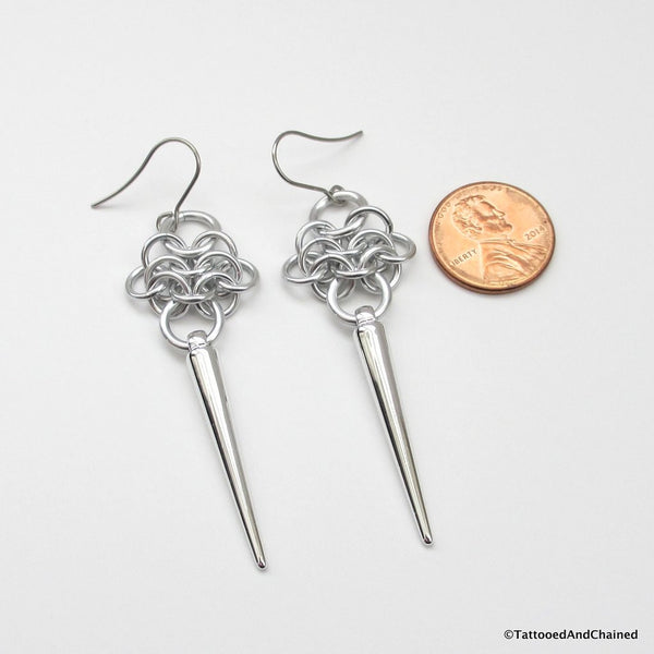Rosette chainmaille earrings with silver spikes - Tattooed and Chained Chainmaille  - 5