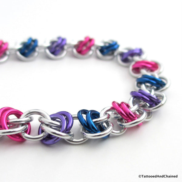 Bisexual pride bracelet, chainmaille barrel weave - Tattooed and Chained Chainmaille  - 3