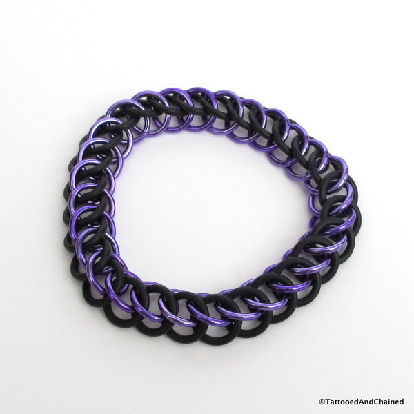 Half Persian 3 in 1 chainmaille stretchy bracelet, purple and black - Tattooed and Chained Chainmaille  - 1
