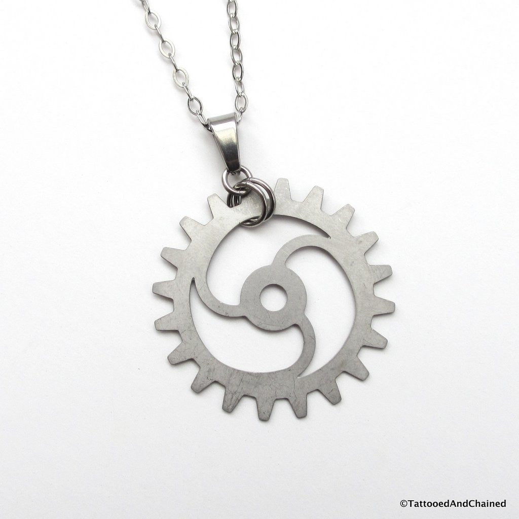 Steampunk gear pendant, 3 spoke spiraled gear - Tattooed and Chained Chainmaille  - 1