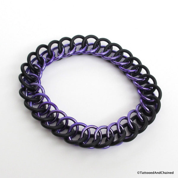 Half Persian 3 in 1 chainmaille stretchy bracelet, purple and black - Tattooed and Chained Chainmaille  - 3