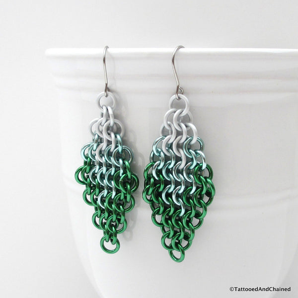 Green ombre chainmaille earrings, Euro 4 in 1 weave - Tattooed and Chained Chainmaille  - 4