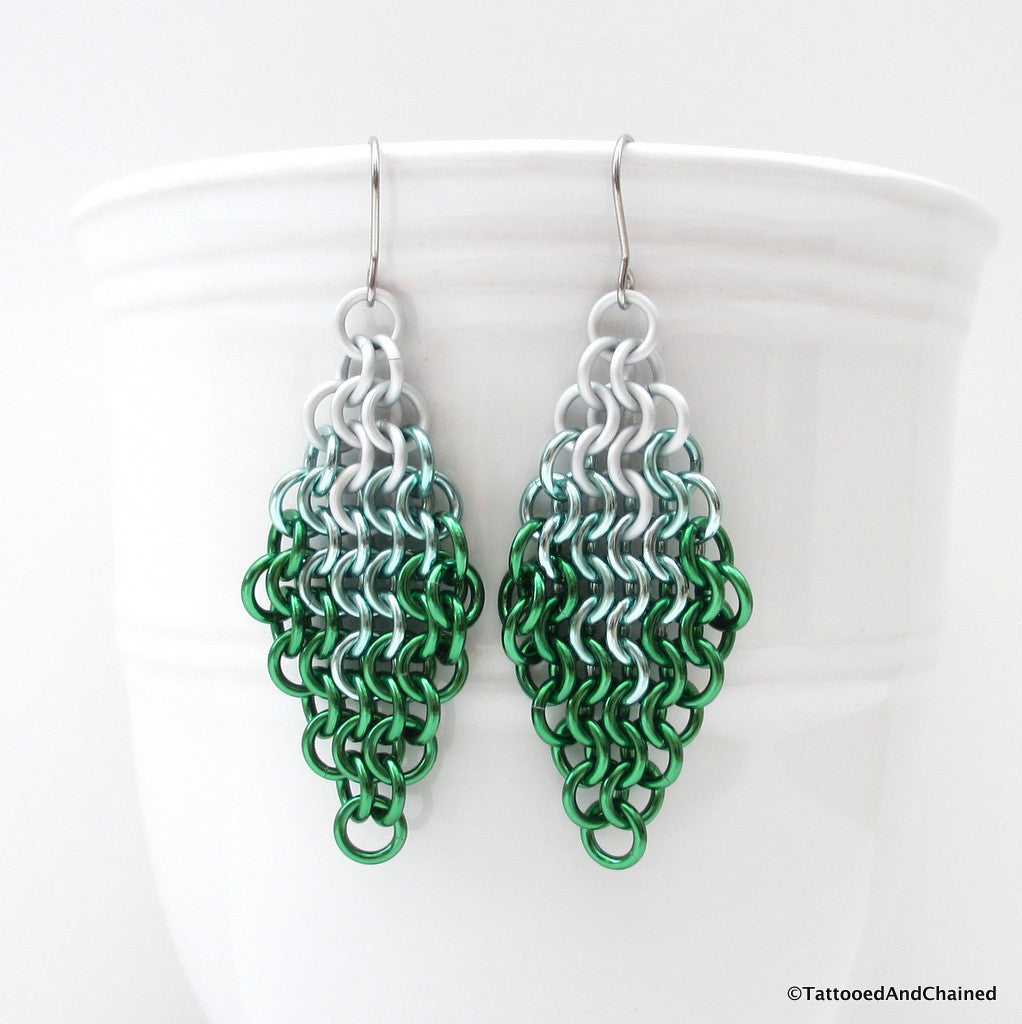 Green ombre chainmaille earrings, Euro 4 in 1 weave - Tattooed and Chained Chainmaille  - 1