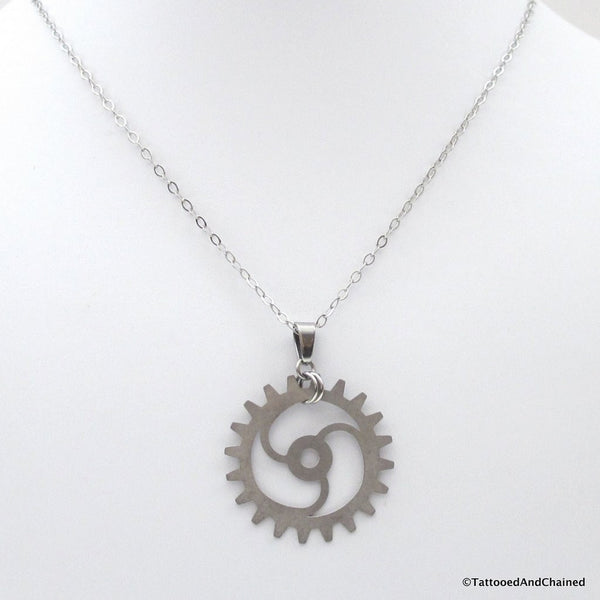 Steampunk gear pendant, 3 spoke spiraled gear - Tattooed and Chained Chainmaille  - 4