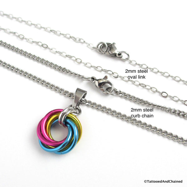 Pansexual pride chainmaille love knot pendant; pink, yellow, light blue - Tattooed and Chained Chainmaille  - 4