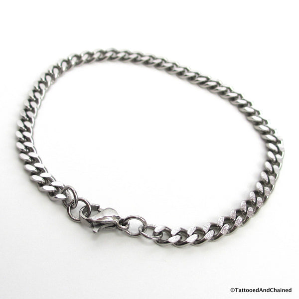 4mm stainless steel curb chain bracelet - Tattooed and Chained Chainmaille  - 3