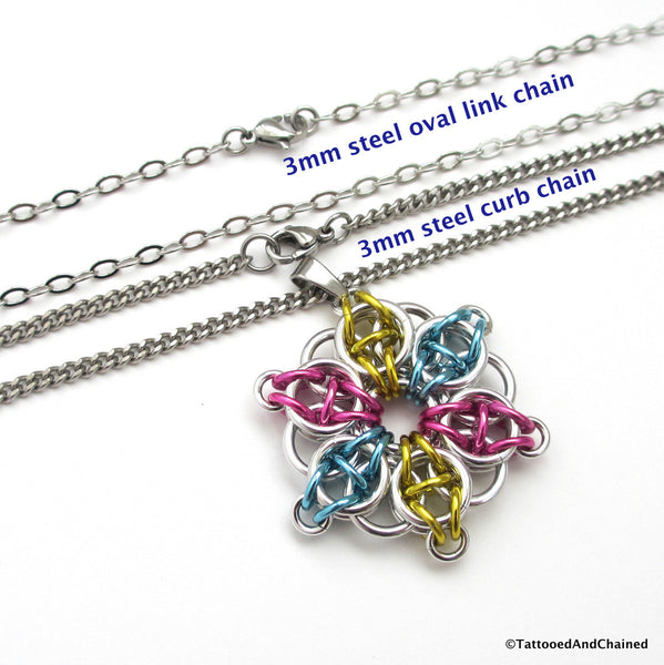 Pansexual pride pendant, chainmaille Celtic star; pink, yellow, light blue - Tattooed and Chained Chainmaille  - 4