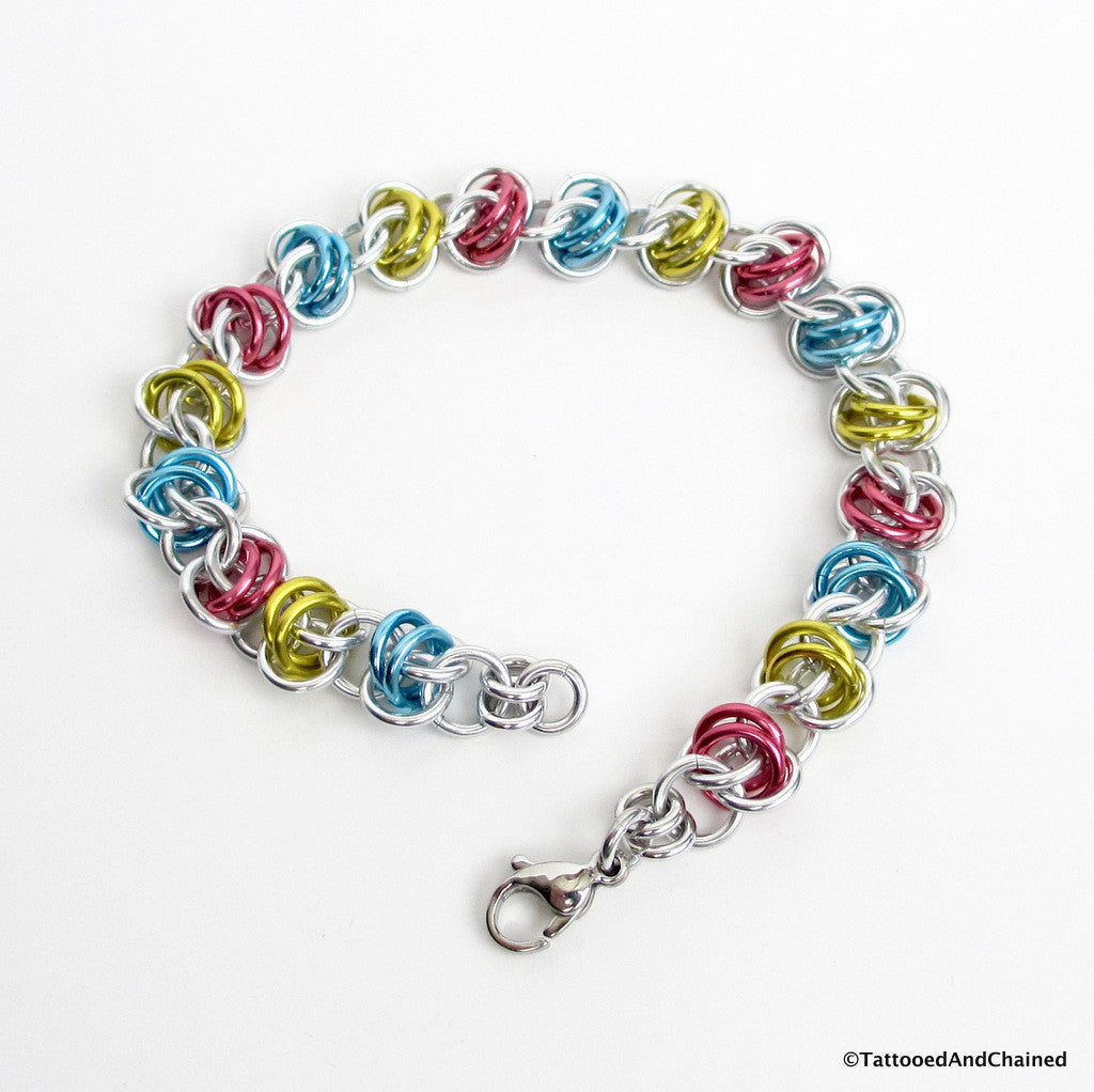 Pansexual pride bracelet, chainmaille barrel weave - Tattooed and Chained Chainmaille  - 1